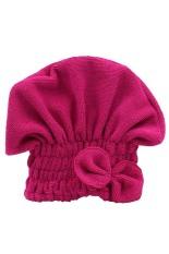 Bluelans Women's Hair Drying Hat Towel Turban Cap Bowknot Soft Coral Velvet Micro-fiber Rose-Red (Intl)