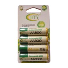 BTY - 4 Pcs Rechargeable Baterry AA NImH 1.2V 3000 mAh