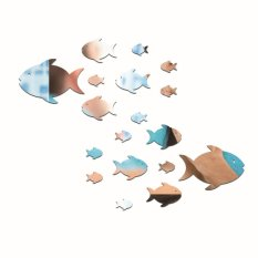 Cartior 18pcs Funny Fish 3D DIY Acrylic Mirror Wall Sticker Home Decaration Removable Decal For Living Room 67*51cm (Silver)