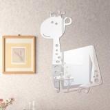 Cartior Cartoon Giraffe 3D DIY Acrylic Mirror Wall Sticker Home Decaration Removable Decal For Living Room37*50 (Silver)