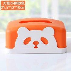 Cartoon Square Napkin Paper Towel Box Sweet Windingdesktop Plastic Tissue Box 21.5*12*10Cm (Orange) - Intl