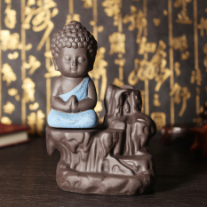 Ceramic Little Monk Smoke Backflow Cone Censer Holder Incense Burner Decoration sky blue - intl