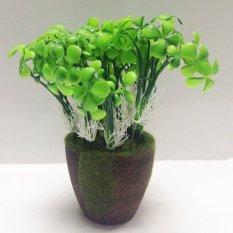 Cocotina 10 buah hijau tanaman palsu buatan pabrik plastik pot bunga dekorasi rumah - Four Leaf Clover