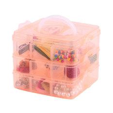 Colorful Portable Three Removable Transparent Jewelry Storage Box Orange