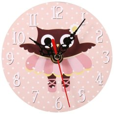 Creative Vintage Owl Pattern Round Wooden Wall Clock #2 - intl
