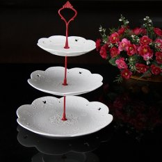 Crown Cake Cupcake Plate Stand Handle Party Wedding Dessert Fruit 3Red - Intl