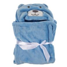 Cute Animal Flannel Cartoon Baby Kid's Hooded Bath Towel (Blue Bear) (Intl)
