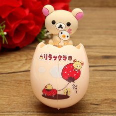 Cute Cartoon Animal Sucker Kids Egg Shaped Toothbrush Cap Cover Wall Holder Bear - Intl