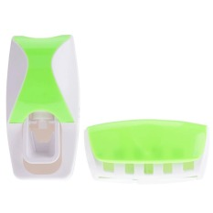 Cyber New Fashion Practical Automatic Toothpaste Dispenser + Toothbrush Holder (Green)