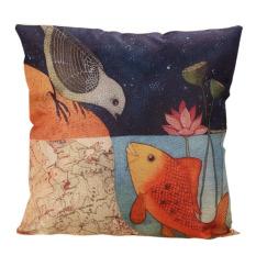 Decor Box Retro Cotton Linen Throw Compass Cushion Cover Pillowcase 06 (Intl)