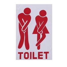 Dekorasi Pintu Toilet Lucu Stiker Tanda Pintu Kamar Mandi Pintu Stiker Merah