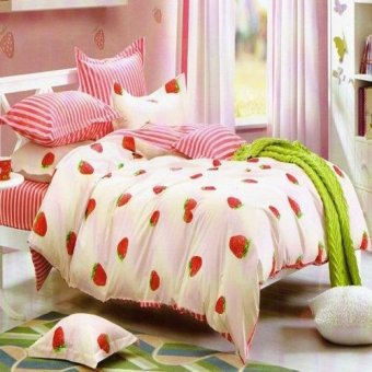 Depo Selimut Strawberry Line Katun Taiwan King Size