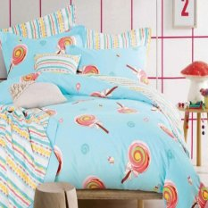 Depo Sprei Dan Bed Cover Blue Lollypop Sateen Jepang Extra King Size