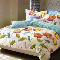 Depo Sprei Dan Bed Cover Colorful Leaf Katun Taiwan Xtra-King Size