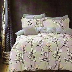 Depo Sprei Dan Bed Cover Leaf Grey Katun Taiwan King Size