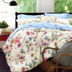 Depo Sprei Dan Bed Cover Queen Flower Sateen Jepang