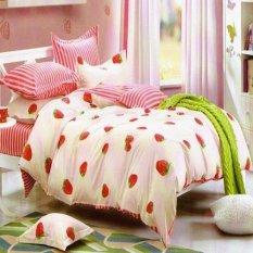 Depo Sprei Dan Bed Cover Strawberry Line Katun Taiwan Single Size