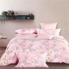 Depo Sprei Set Bed Cover Nice Floral Pink Sateen Jepang Extra King Size