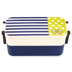 Double Tier Japan Style Navy Pattern Portable Bento Lunch Box PP Microwave Oven Tableware Food Case (BLUE)