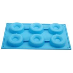 6 Silicone Donut Doughnut Cake Mould Chocolate Soap Candy Mold Baking Pan Blue (Intl)