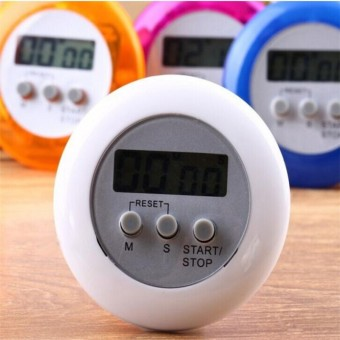 Electronic Kitchen Timer Round Portable Food Baking Timer (White)