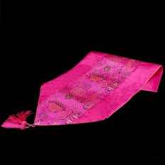 Elegance Embroidered Fish Satin Table Runner Chinese Home Furnishing Rose Red (Intl)