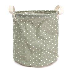 Foldable Cotton Linen Washing Clothes Laundry Basket Sorter Bag Hamper Storage Green - Intl