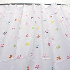Freebang Colourful Flowers Polyester Fibre Waterproof Bathroom Shower Curtain + Hooks