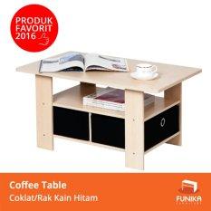 FUNIKA 11158 SBE/BK - Coffee Table dengan 2 Rak Kain - Cokelat Muda/Hitam