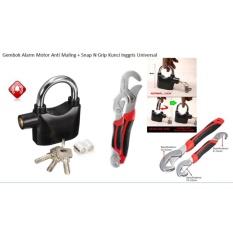 Gembok Alarm Anti Maling + Snap N Grip Kunci Inggri Universal
