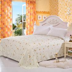 GoGoLife Star&Moon Flat Bed Sheet All Size-13-1# White