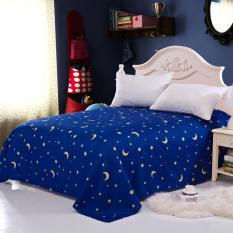 GoGoLife Star&Moon Flat Bed Sheet Single / Full / Queen / King Size-13-2# Blue
