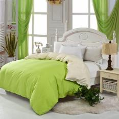GoGoLife Two-tone Sanding Cotton Solid Color Coverlets Quilt Cover All Size-8# Green And Beige