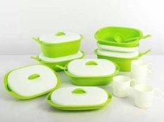 Green Leaf - Vienna Family Promo Set - Wadah Penyajian Isi 11 Set - Warna Hijau
