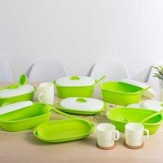 Green Leaf - Vienna Family Set Of 7 Wadah Saji Makanan + Free 4 Gelas - Hijau