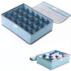 Grosir Station - Underwear Storage 24 Grid Box / Penyimpanan Celana Dalam / Kaos Kaki - Biru (Blue)