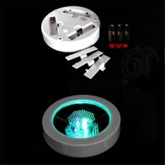 HKS 360Dsc Round Shape Led Light Up Coasters Light Flash Cupmat - White Shell + Colorful Light - Intl