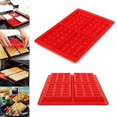HL 4-Cavity Waffle Baking Molds Diy Mini Waffles Cake Chocolatepan Silicone Tray Mold Muffin Mould Tool, Red - Intl