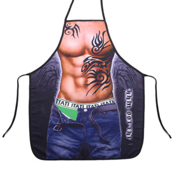 HL Beefcake Series Kitchen Apron Funny Personality (Blue)