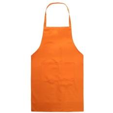 HL Kitchen Cooking Chefs Apron With Front Pocket Oil Proof Hang Neck (Orange) Qa091-Sz