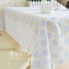 HL Pvc Tablecloth Cover Dining Coffee Tea Table Waterproof Cloth 137 X180 CM Blue Flower White