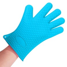 HL Silicone Glove Oven Holder Bbq Mitts Blue