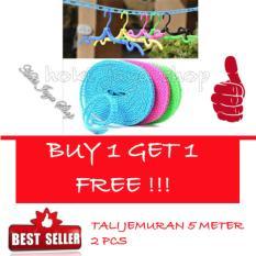 HOKI COD -  Tali Jemuran 5 meter Serbaguna - Baju Handuk Hanger - Gantungan Baju - 2 Piece - Multi Colour