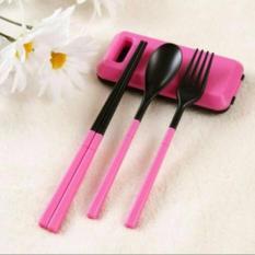 HOLYWINGS - Sendok Makan Lipat / Peralatan Makan Portable / Sendok Garpu Sumpit - PINK