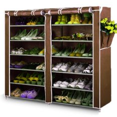 Home-Klik Shoe Rack 12 Layers with Dust Cover - Rak Sepatu - Coklat