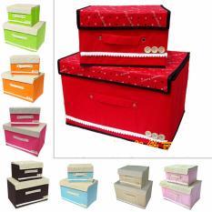 Household Storage Set 2 In 1 Box Penyimpanan Mainan Tas Pakaian Baju