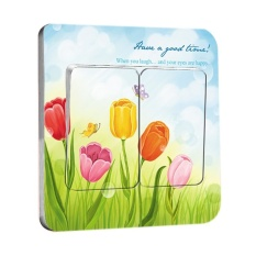HuoLaLa Switch Socket Stickers Wall Stickers Wallpaper Decals&Lovely& Tulip& - intl