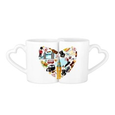 I Love London Vintage Illustration 227ml Lovers' Mug Set White Pottery Ceramic Cup Cute Funny Milk Coffee Cup With Handles