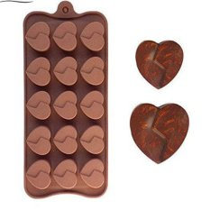 ILife 15 Holes Soulmate Silicone Heart-Shaped Chocolate Mould Cake Mold Kitchen Accessories Cake Baking Tools Brown