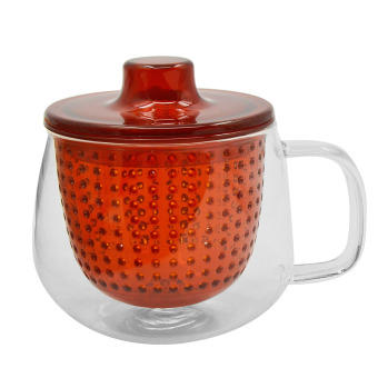 350ml Portable BPA Free Clear Glass High Temperature Resistance Loose Leaf Flower Tea Infusion Cup with Infuser Strainer Lid Handle